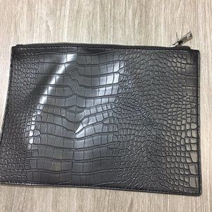 Handbags - Black Crocodile Clutch Bag